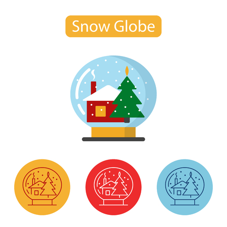 Snow globe icon. Simple house and Christmas tree sign. New year Chrismas object isolated on white background. Graphic for Web Design. Winter holidays vector illustration, flat style.