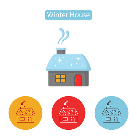 Winter house icon. Snowy cottage or hunting lodge building pictogram for web and devices. Christmas house with smoking chimney. Flat Merry Christmas design.