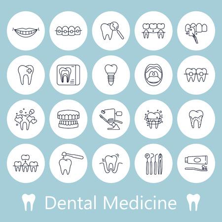 Teeth, dentistry medical line icons.