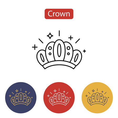 Crown icon isolated on white illustration. Illustration