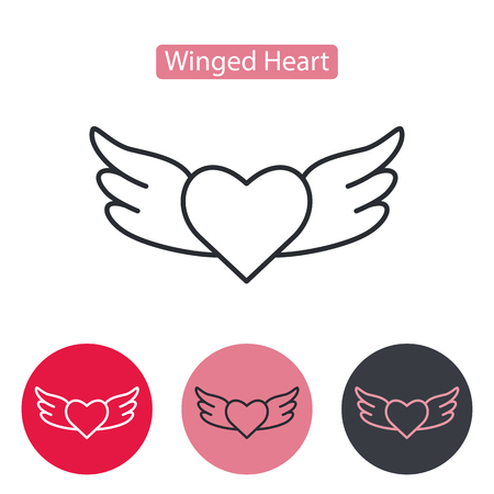 Heart wings fly romantic line icon. Linear style pictogram isolated on white. Love symbol, logo sign. Valentine's Day vector illustration. Editable stroke. Vectores