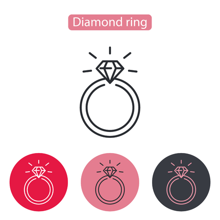 Wedding or engagement ring with diamond. Love symbol, logo sign. Valentines Day vector illustration. Editable stroke.