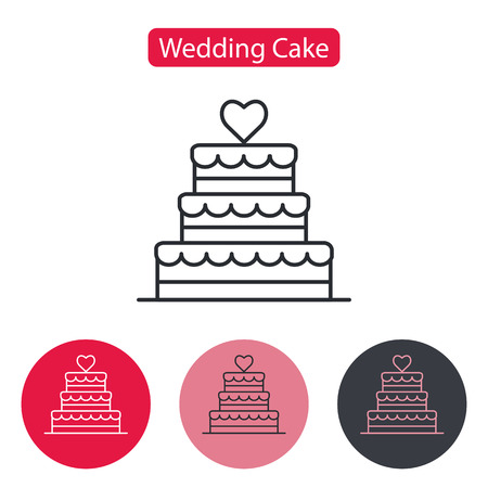 Stacked wedding cake dessert with heart. Illustration