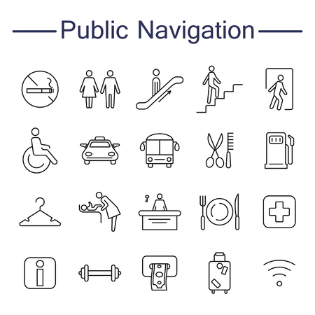 Public Navigation Signs Icons. Contains such Icons as Cloakroom, Elevator, Exit, Taxi, ATM and more. Outline pictogram for web site design and mobile apps. Vector illustration. Editable stroke.
