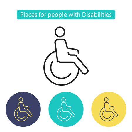 Disabled sign. Symbol paralyzed and human on wheelchair. Places for people with disabilities. Public Navigation symbol for info graphics. Line style image. Editable stroke. Vector illustration. Illustration