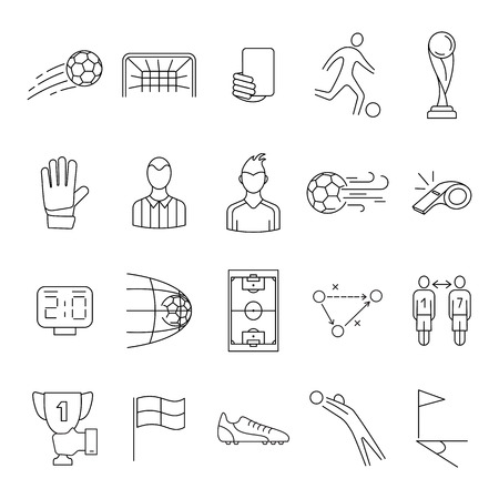 Soccer line icons set design for labels and advertising. Contains such icons as stadium, field, ball and more. Sport accessories collection for info graphics, websites and print media. Editable stroke Иллюстрация