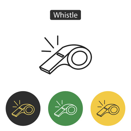 Whistle of referee icon. utline sign isolated on white. Sport accessories collection for info graphics, websites and print media. Vector illustration in line style. Editable stroke