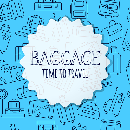 Luggage background. Various types of baggage for travel and tourism in a linear style. Symbol for websites and print media. Line style design image. Editable stroke. Vector illustration.