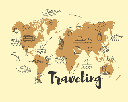 Travel integrated thin line symbols. Abstract World map banner. Travel time poster with sun, palm tree, starfish, cocktail, baggage, airplane and other symbols of summer vacation. Vector illustration.