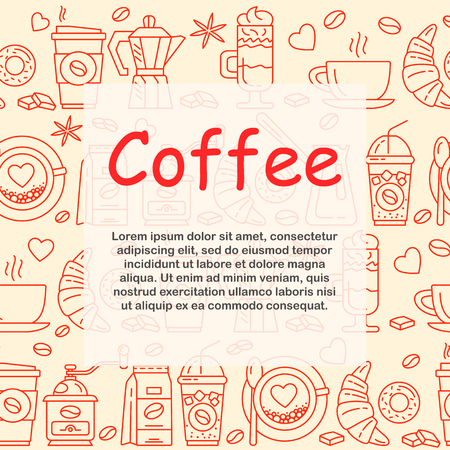 Coffee icons seamless pattern background vector illustration Illustration