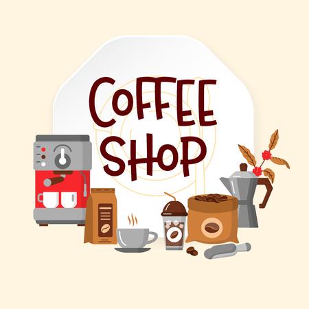 Moderne iconen voor coffeeshop en koffiehuis. Vector illustratie