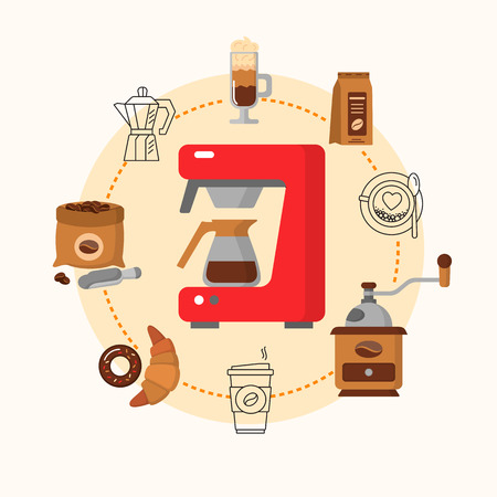 Coffee equipment flat concept. Hot drinks flat line icons - coffeemaker machine, beans, cup, grinder. Vector illustration. Illustration