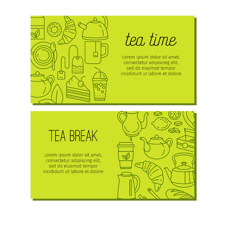 Tea design banners with line icons. Illustration