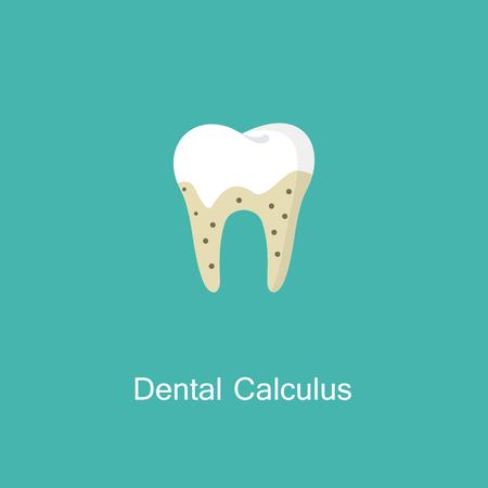 Tartar or calculus teeth illustration vector icon. Vettoriali
