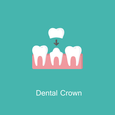 Dental crown, tooth treatment sign. Vector illustration.