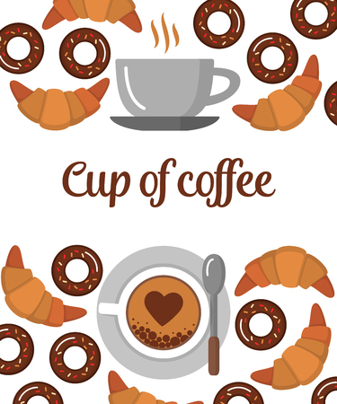 Coffee, Croissants and Donuts background. Illustration