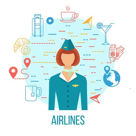 Airport Icons. Professions avatar icon - stewardess.