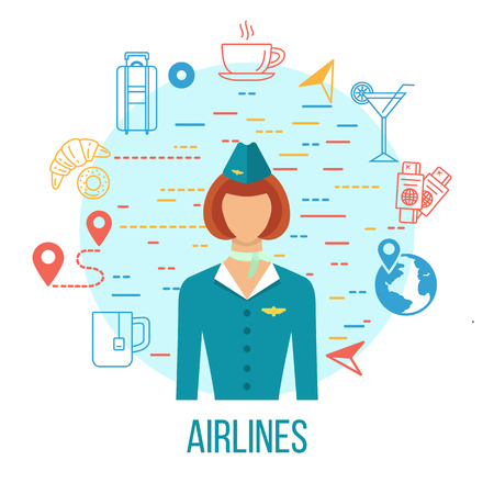 Airport Icons. Professions avatar icon - stewardess.