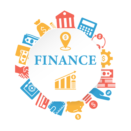 Finance poster with outline icons set 일러스트