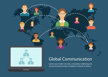 Global communication flat design