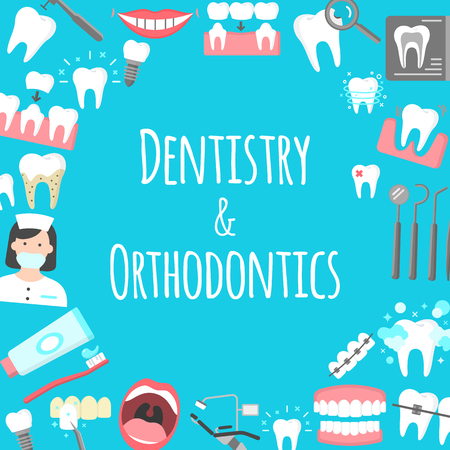 Dentistry and orthodontics poster. Vektorové ilustrace