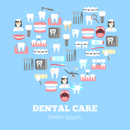 Dental care poster with teeth and dentist icons on blue background. Vector illustration. Vettoriali