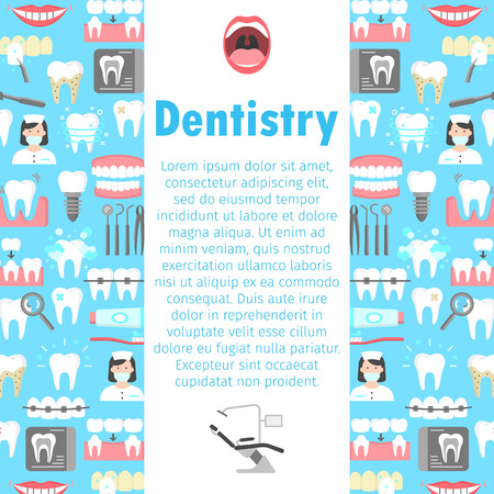 Dentistry flat icons banner vector illustration. Ilustracja