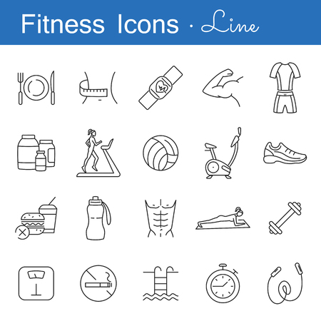 Fitness line icons set. Outline symbols of healthy lifestyle diet food training and sport equipment vector illustration. Flat style design. Isolated on white background Illustration