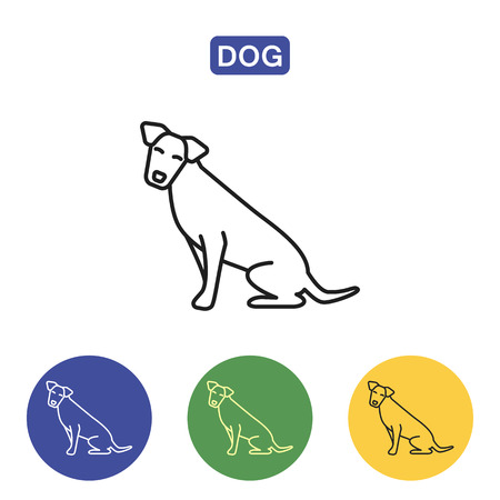 Dog line icon in black color logo element. Outline symbols of pets in colorful circles vector illustration for print media. Flat style design. Isolated on white background