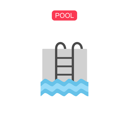 Swimming pool with ladder line icon.