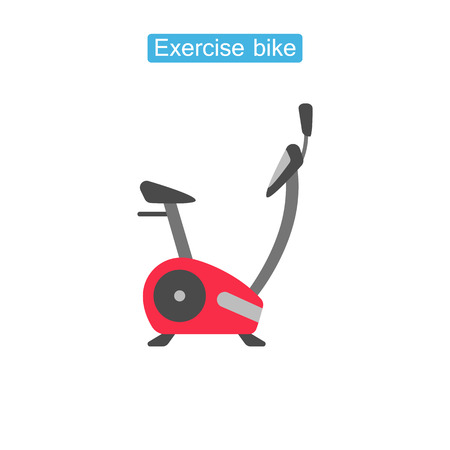 Exercise bike fit icons. Fitness equipment symbolfor infographics websites and print media vector illustration. Flat style design. Isolated on white background