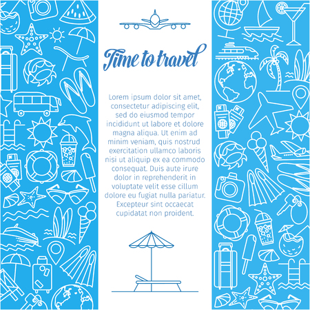 Time to travel background. Travel icons Illustration