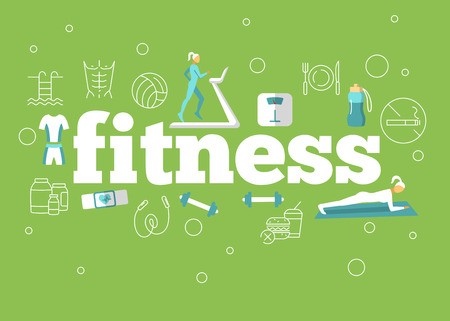 Fitness flat poster activity design for background