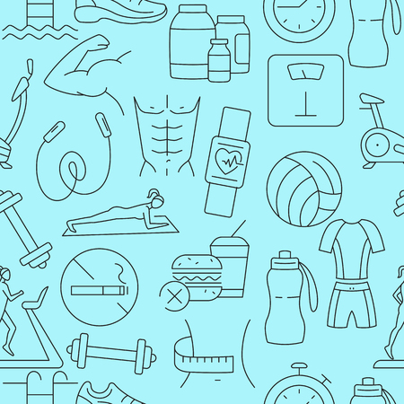Fitness pattern with line icons Illustration