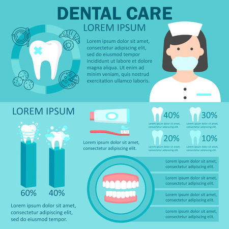 Dental care infographic set with factors provoking teeth diseases dentist denture statistics of ultrasonic cleaning and teeth whitening symbols vector. Isolated on blue backfgound. Place for text