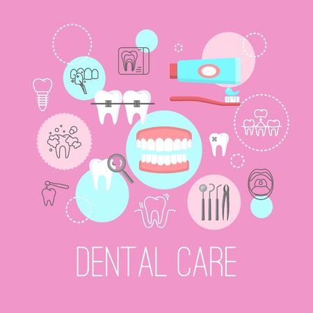 Dental care poster with flat icons Illusztráció