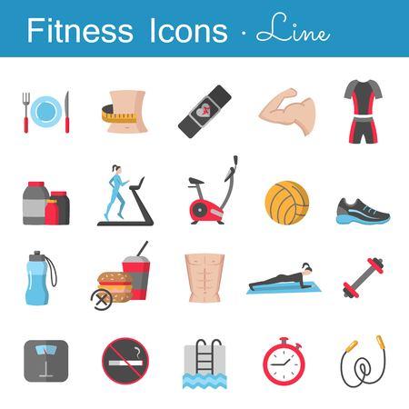 Fitness line icons set illustration on white background. Illustration