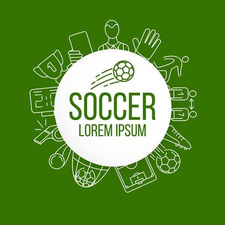 Soccer, football vector icon set. Illustration