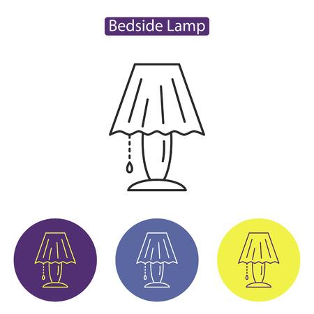 Bedside lamp line icon Illustration