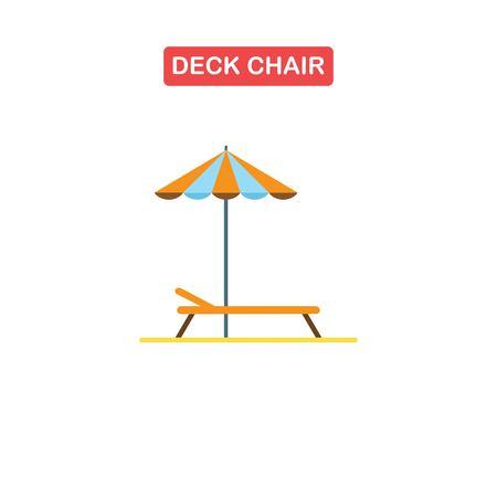 Beach chaise lounge with umbrella logo.
