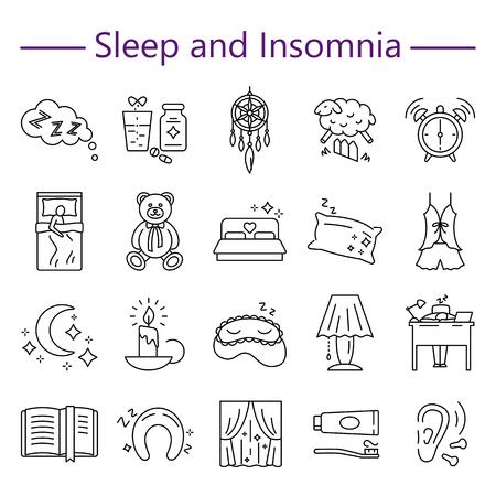 Sleep and Insomnia line icons set Illustration