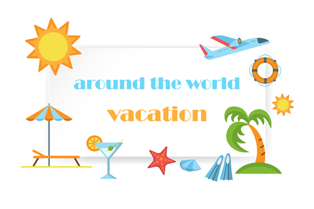Around the world vacation poster with summer icons of sun palm umbrella and flippers vector illustration. Flat style design. Colorful template for web site print media