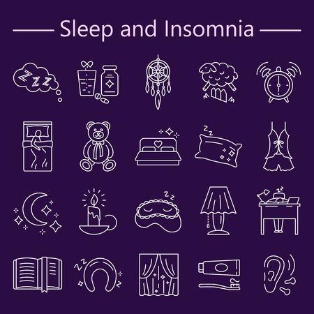 Sleep and Insomnia line icons set Ilustração
