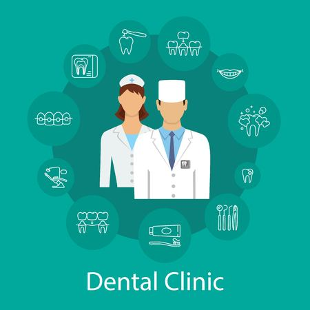 Dental clinic banner with dentists and dental symbols. Flat style design. Colorful template for design prints vector illustration and place for text