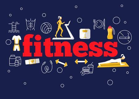 Fitness flat poster