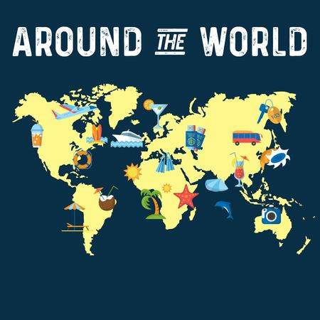Around the World flat poster Vettoriali