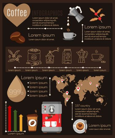 Coffee infographics set elements. Steps of making coffee. Layout statistics of worldwide java consumption and production chain Abstract vector illustration Ilustração Vetorial