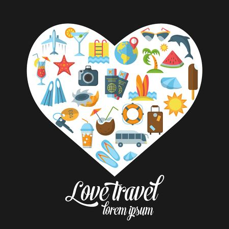 Summer and Beach the icons enclosed in the shape of heart. Flat vacation web icon set. Travel graphic icons set with starfish, sailboat, airplane, cocktail, other images. Editable stroke Vector.