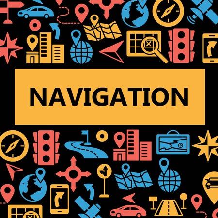 Navigation outline web icons set. Poster of outline line mobile gps road navigation location transportation travel symbols. Isolated on white background. Flat style vector illustration