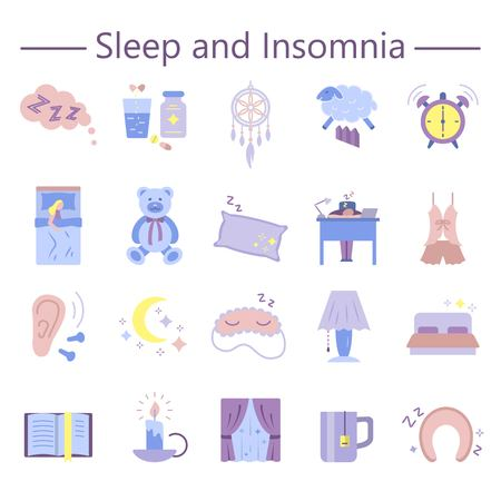 Sleep and Insomnia flat icons set vector illustration. Collection of flat symbols of bedtime rest dreamcatcher awakening for infographics website print media brochures.